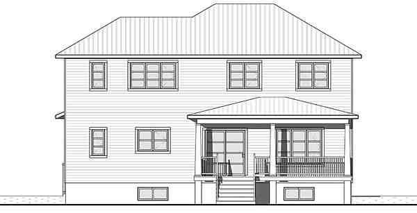 Contemporary, Craftsman, Modern House Plan 76419 with 4 Beds, 3 Baths, 2 Car Garage Rear Elevation