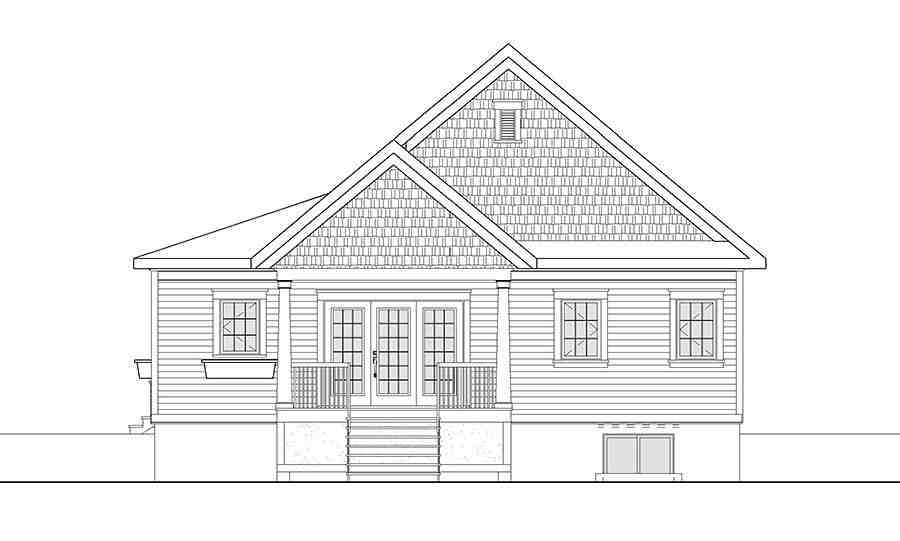 Cape Cod, Cottage, Country, Craftsman House Plan 76448 with 3 Beds, 3 Baths Rear Elevation