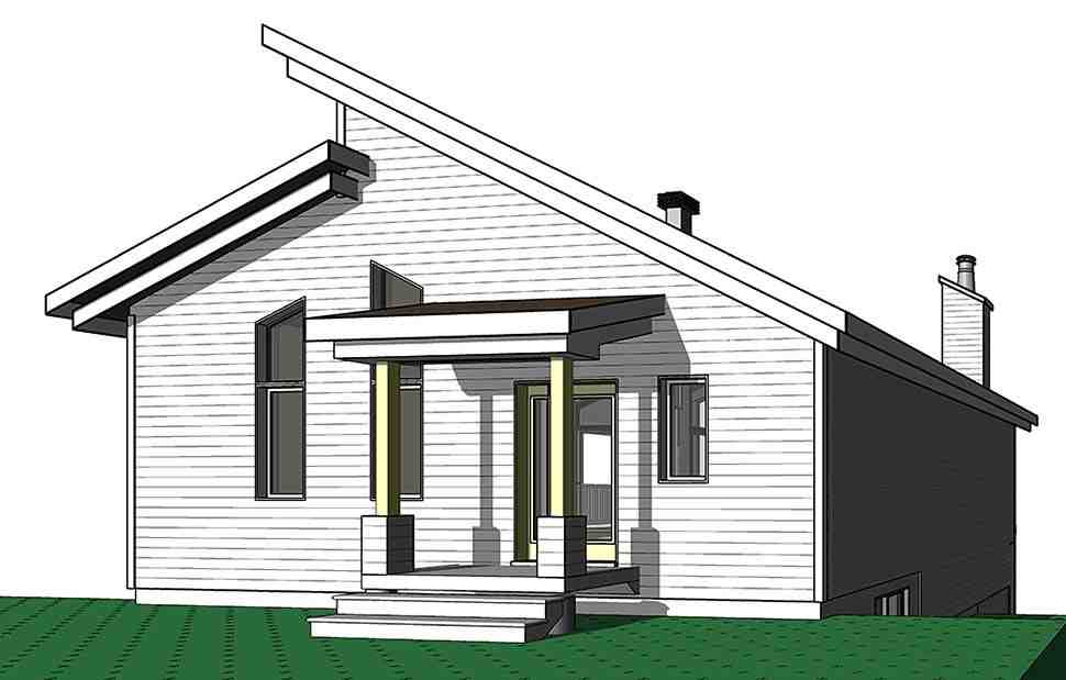 Contemporary, Cottage, Modern House Plan 76526 with 3 Beds, 2 Baths Rear Elevation
