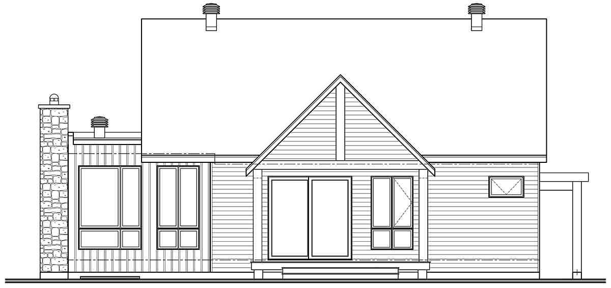 Cabin, Cottage, Craftsman, Ranch House Plan 76553 with 2 Beds, 2 Baths Rear Elevation