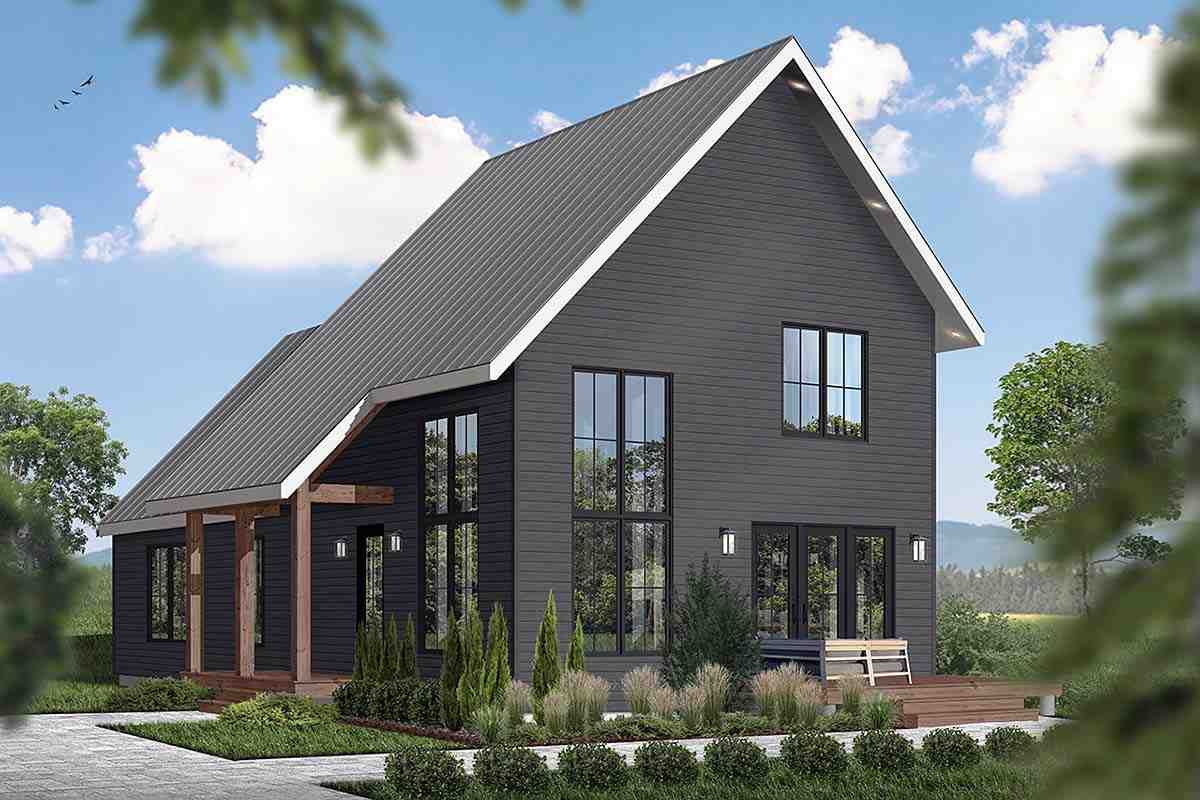 A-Frame, Cabin, Contemporary, Cottage House Plan 76562 with 3 Beds, 3 Baths Elevation