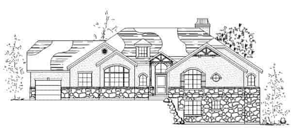 European House Plan 79795 with 5 Beds, 4 Baths, 3 Car Garage Elevation