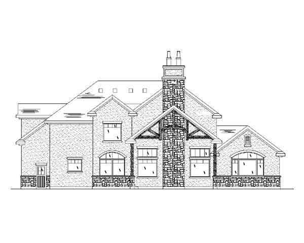 Traditional House Plan 79938 with 4 Beds, 3 Baths, 3 Car Garage Rear Elevation