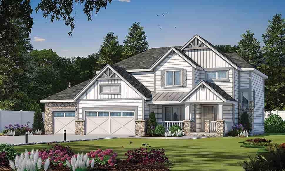 Craftsman House Plan 80441 with 4 Beds, 4 Baths, 3 Car Garage Elevation