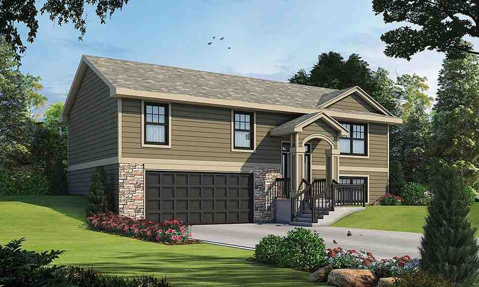 Traditional House Plan 80466 with 3 Beds, 2 Baths, 2 Car Garage Elevation