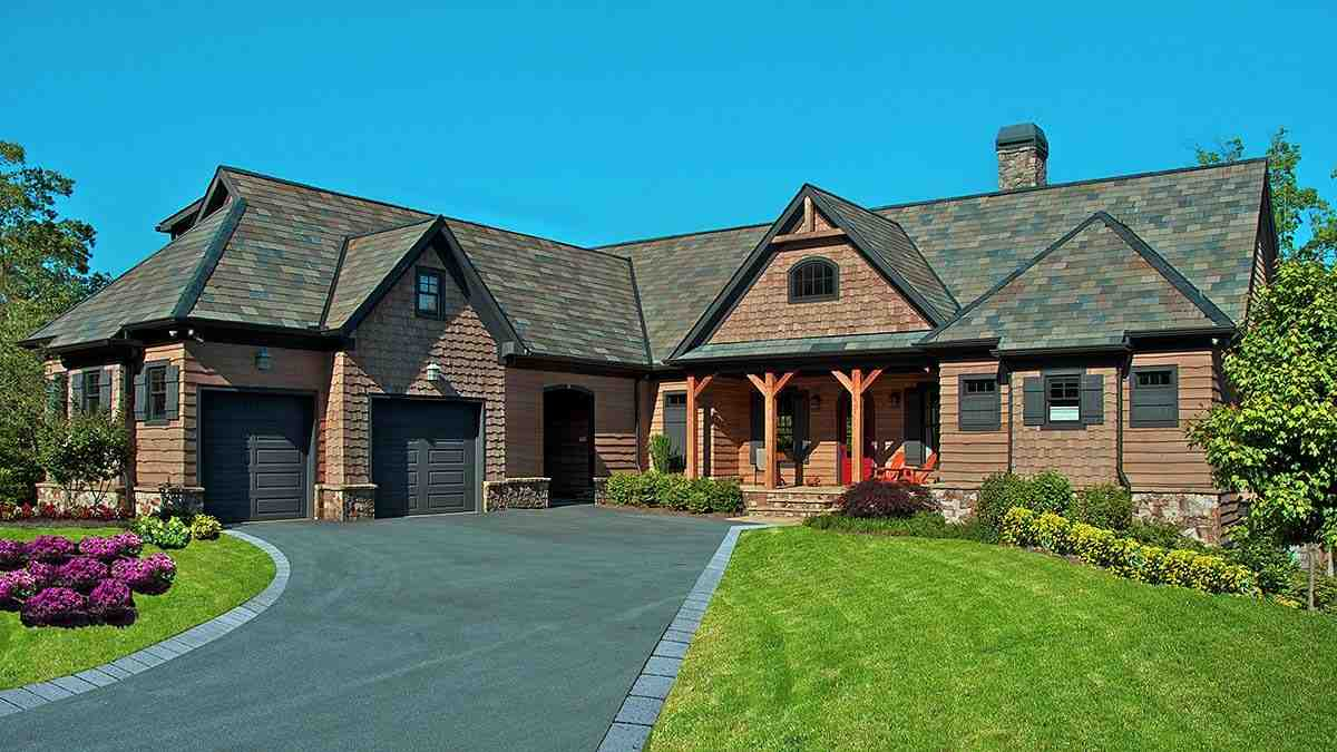 Cabin, Craftsman, Ranch House Plan 80708 with 3 Beds, 4 Baths, 2 Car Garage Elevation