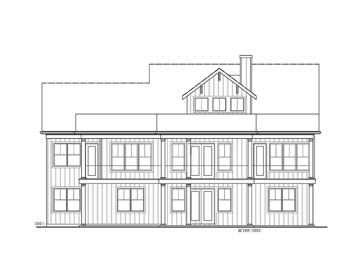 Farmhouse, Ranch House Plan 80740 with 3 Beds, 2 Baths, 2 Car Garage Rear Elevation