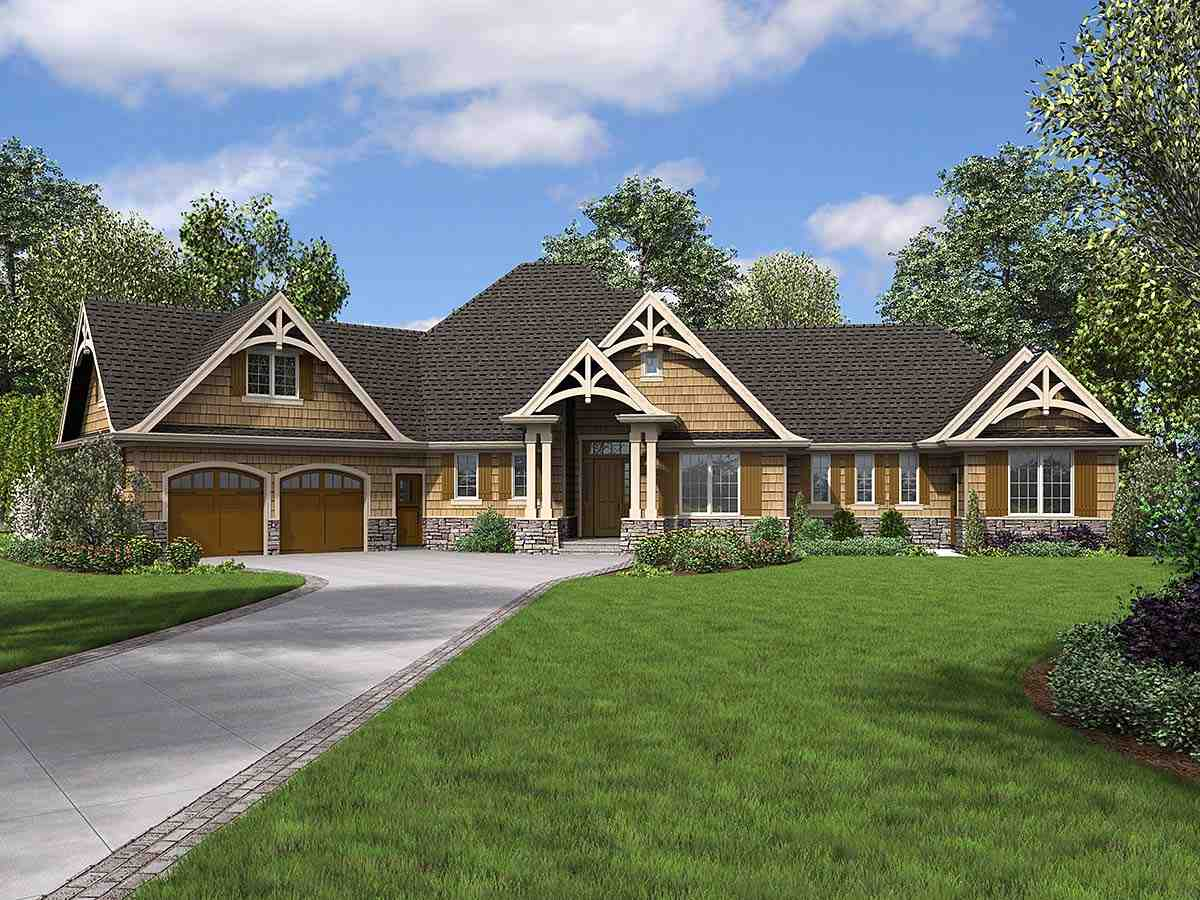 Bungalow, Craftsman, Tuscan House Plan 81272 with 4 Beds, 4 Baths, 2 Car Garage Elevation