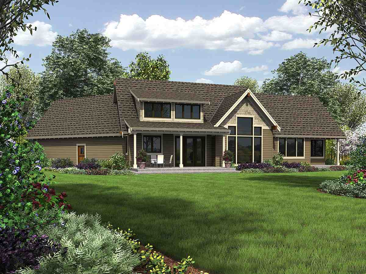 Bungalow, Craftsman, Tuscan House Plan 81278 with 3 Beds, 3 Baths, 2 Car Garage Rear Elevation