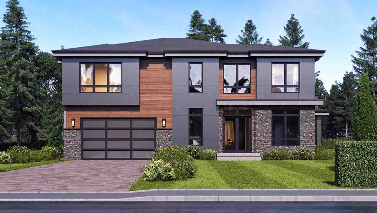 Contemporary, Modern House Plan 81935 with 4 Beds, 3 Baths, 2 Car Garage Elevation