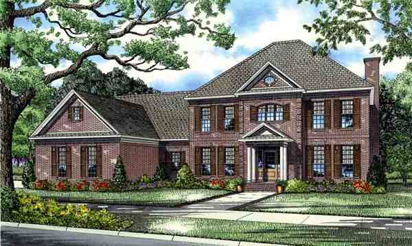 Colonial, European, Plantation House Plan 82126 with 5 Beds, 4 Baths, 3 Car Garage Elevation