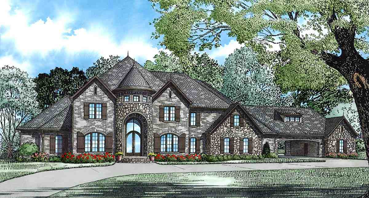 European, Tudor House Plan 82177 with 4 Beds, 5 Baths, 3 Car Garage Elevation