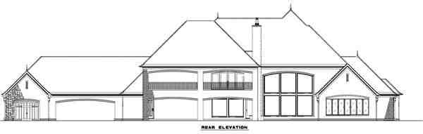 European, Tudor House Plan 82177 with 4 Beds, 5 Baths, 3 Car Garage Rear Elevation