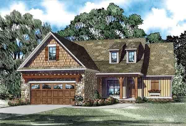 Craftsman, European, Traditional House Plan 82282 with 3 Beds, 2 Baths, 2 Car Garage Elevation
