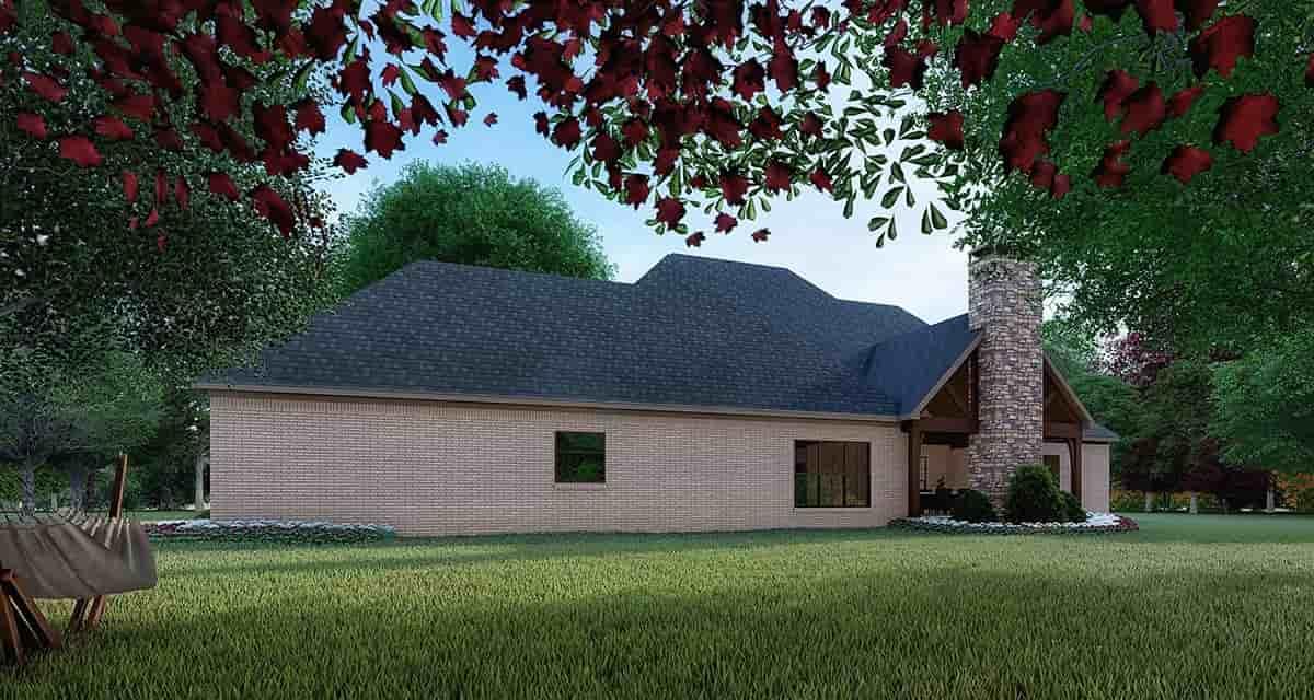 Craftsman, European House Plan 82356 with 4 Beds, 5 Baths, 3 Car Garage Rear Elevation