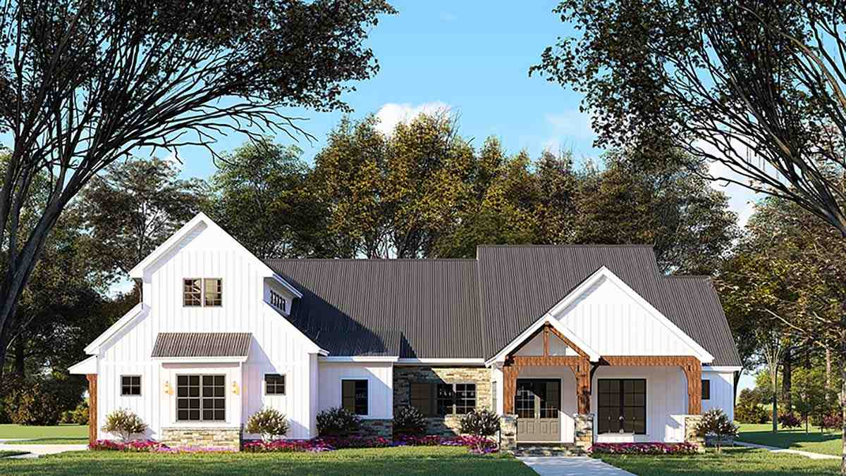 Country, Craftsman, Farmhouse House Plan 82545 with 3 Beds, 4 Baths, 2 Car Garage Elevation