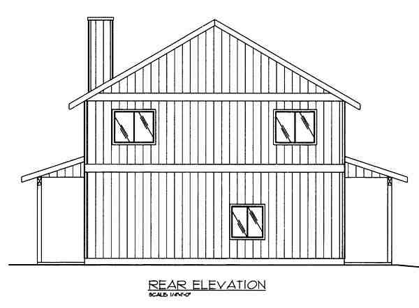 Contemporary, Traditional 2 Car Garage Apartment Plan 85263 with 2 Beds, 2 Baths Rear Elevation