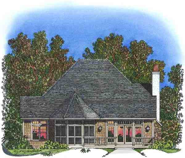 Traditional House Plan 86042 with 3 Beds, 3 Baths, 2 Car Garage Rear Elevation