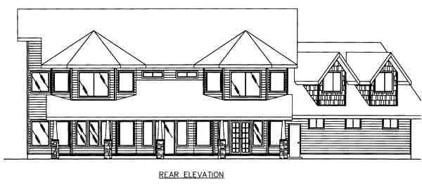 Country House Plan 86754 with 4 Beds, 4 Baths, 3 Car Garage Rear Elevation