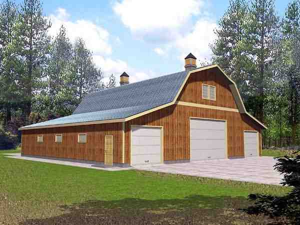 6 Car Garage Plan 86889 Elevation