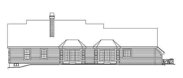 Cape Cod, Country, Ranch, Southern, Traditional House Plan 86998 with 3 Beds, 4 Baths, 2 Car Garage Rear Elevation