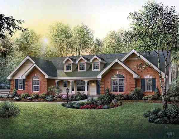 Cape Cod, Country, Ranch, Southern, Traditional House Plan 87817 with 4 Beds, 3 Baths, 3 Car Garage Elevation