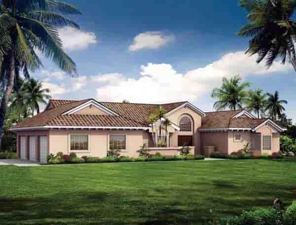 Mediterranean House Plan 90212 with 3 Beds, 2 Baths, 3 Car Garage Elevation