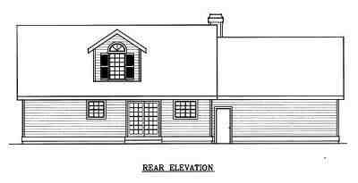 Cape Cod, Country, Farmhouse House Plan 91830 with 3 Beds, 3 Baths, 2 Car Garage Rear Elevation