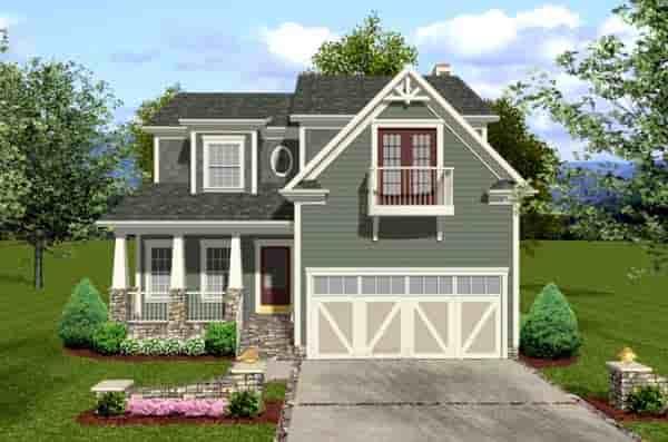 Craftsman House Plan 92384 with 3 Beds, 4 Baths, 2 Car Garage Elevation
