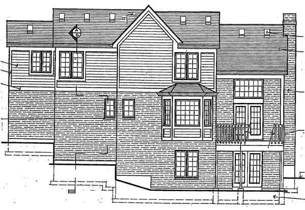 Traditional House Plan 92609 with 3 Beds, 3 Baths, 2 Car Garage Rear Elevation