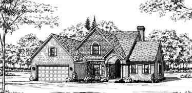 Bungalow, European House Plan 92629 with 4 Beds, 3 Baths, 2 Car Garage Elevation