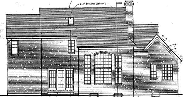 Traditional House Plan 92643 with 3 Beds, 3 Baths, 2 Car Garage Rear Elevation