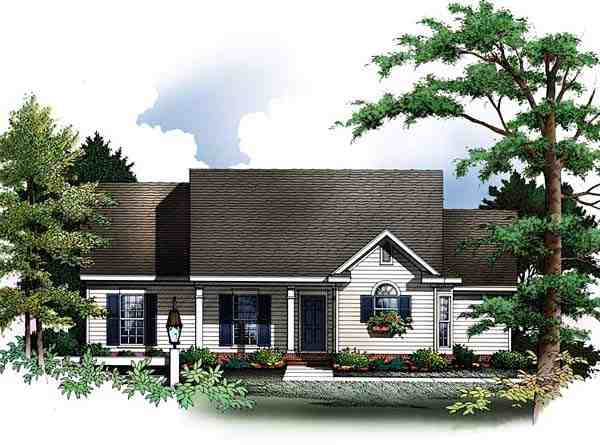 Cabin, Cape Cod House Plan 93073 with 3 Beds, 2 Baths, 2 Car Garage Elevation