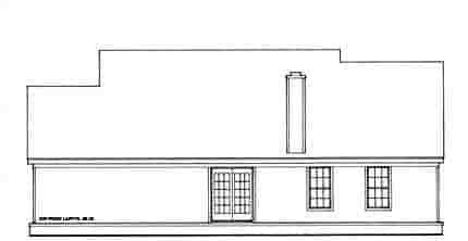 Cabin, Cape Cod House Plan 93073 with 3 Beds, 2 Baths, 2 Car Garage Rear Elevation