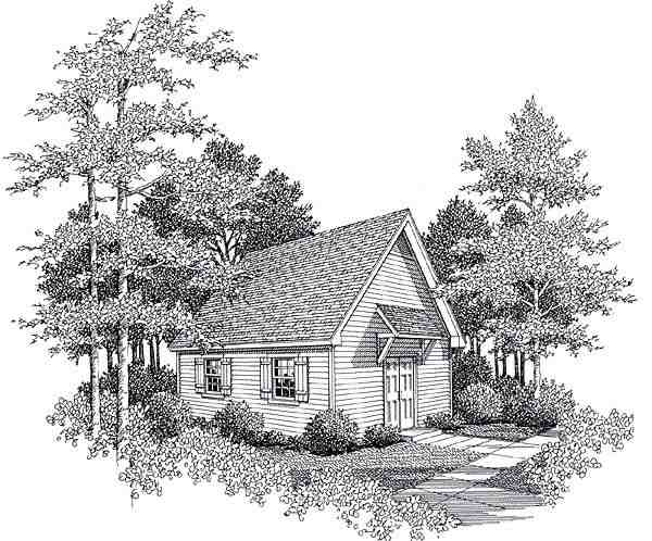 Cottage House Plan 93474 with 1 Beds, 1 Baths Elevation