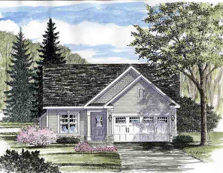 Cottage, Ranch House Plan 94132 with 2 Beds, 2 Baths, 2 Car Garage Elevation