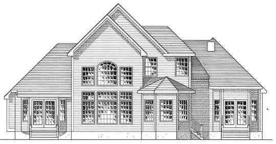 Country House Plan 94173 with 3 Beds, 3 Baths, 2 Car Garage Rear Elevation