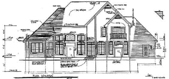 European, Tudor House Plan 94174 with 3 Beds, 4 Baths, 3 Car Garage Rear Elevation