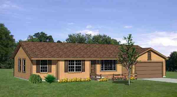 One-Story, Ranch House Plan 94412 with 3 Beds, 3 Baths, 2 Car Garage Elevation