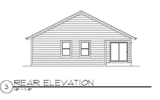 Craftsman House Plan 94472 with 3 Beds, 2 Baths, 2 Car Garage Rear Elevation