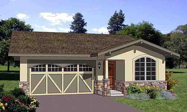 Narrow Lot, One-Story, Southwest House Plan 94476 with 3 Beds, 2 Baths, 2 Car Garage Elevation