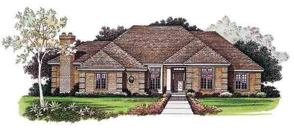 Traditional House Plan 95268 with 3 Beds, 6 Baths, 2 Car Garage Elevation