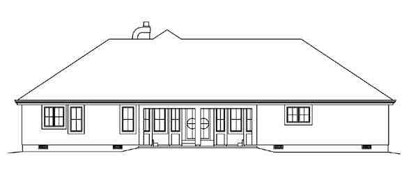 Contemporary, Florida, Ranch, Southwest House Plan 95858 with 3 Beds, 3 Baths, 2 Car Garage Rear Elevation
