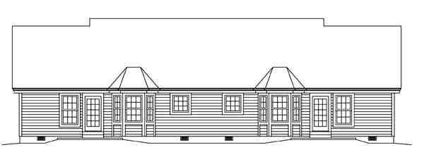 Colonial, Ranch Multi-Family Plan 95881 with 4 Beds, 4 Baths, 2 Car Garage Rear Elevation