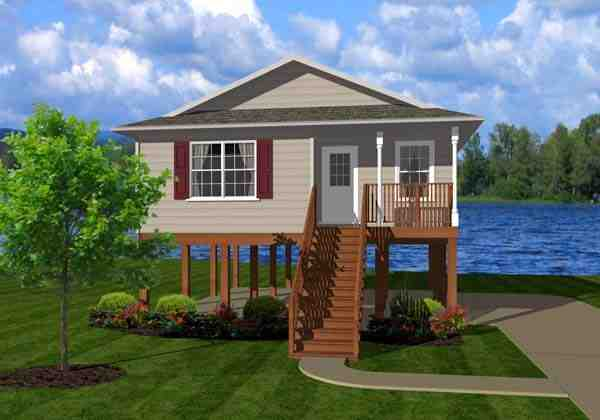 Coastal House Plan 96701 with 2 Beds, 1 Baths Elevation