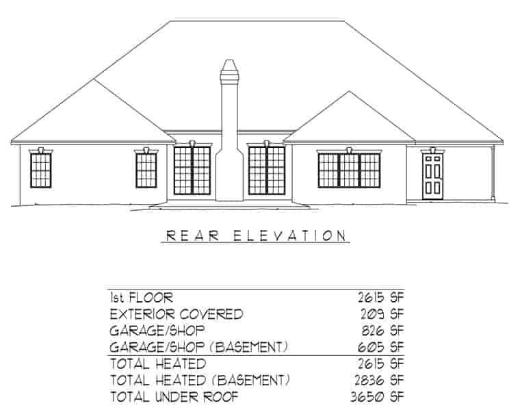 European, Tudor House Plan 96836 with 3 Beds, 2 Baths, 2 Car Garage Rear Elevation
