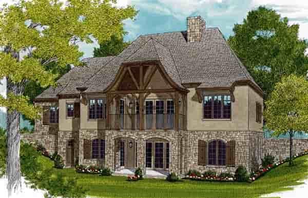 European House Plan 97047 with 3 Beds, 4 Baths, 2 Car Garage Rear Elevation