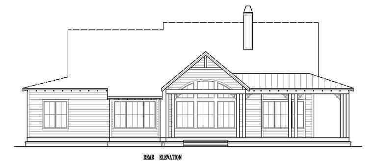 Country, Southern, Traditional House Plan 97606 with 3 Beds, 3 Baths, 2 Car Garage Rear Elevation