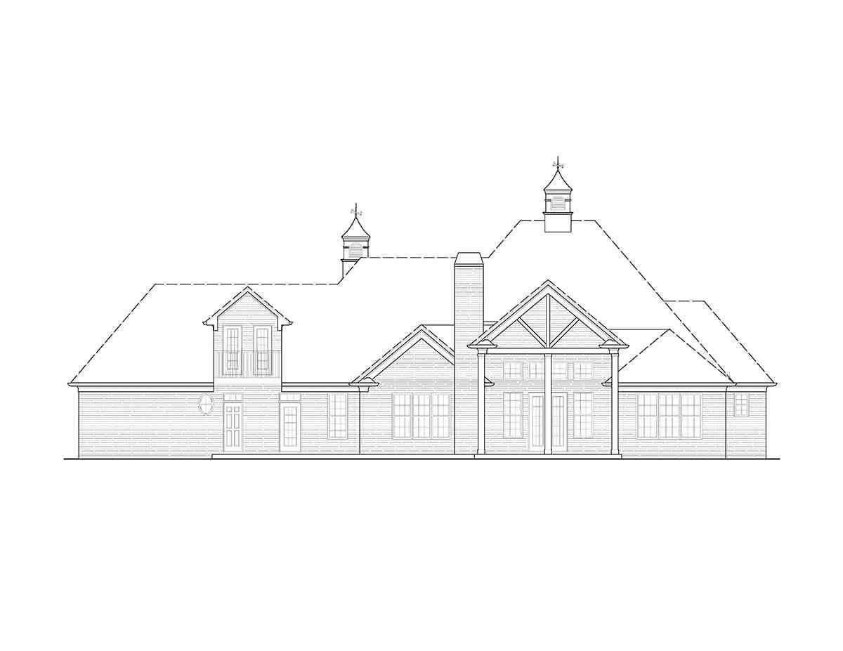 Traditional, Tudor House Plan 97681 with 4 Beds, 5 Baths, 3 Car Garage Rear Elevation