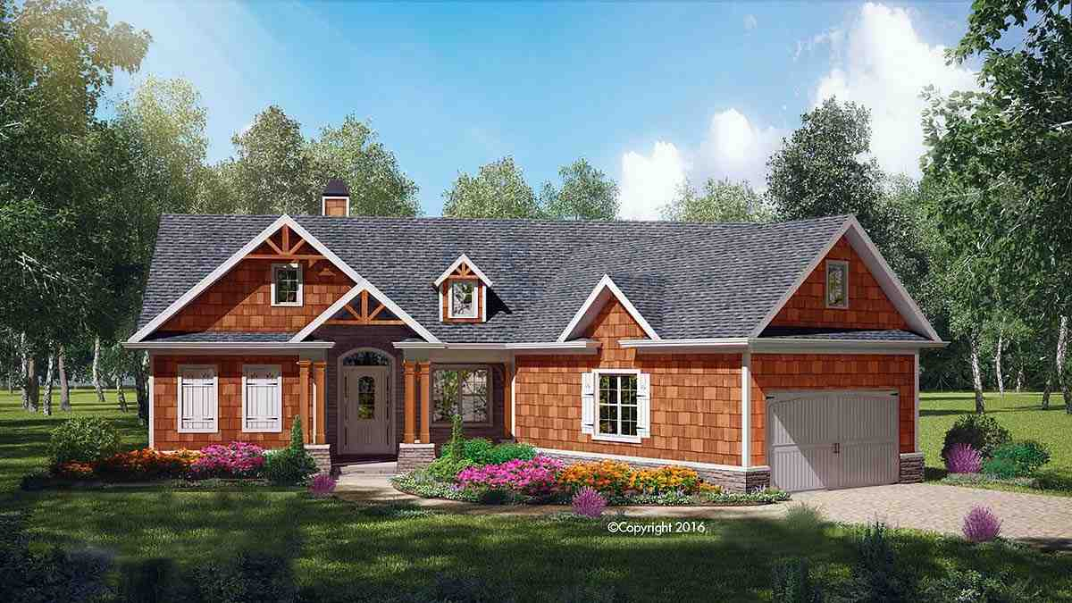 Country, Farmhouse, One-Story, Southern House Plan 97693 with 3 Beds, 2 Baths, 2 Car Garage Elevation